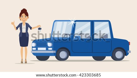 Vector illustration of a cheerful businesswoman standing near a new car and holding car key