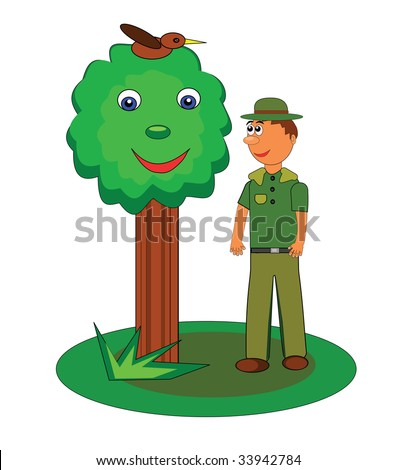 Vector illustration of a cheerful forest ranger or park ranger and happy tree.