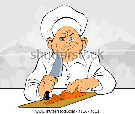 Vector illustration of a chef cuts carrots - stock vector