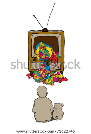 vector illustration of a child in front of TV