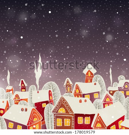 Vector Illustration of a Christmas Background. Card of winter landscape with decorated house and Christmas tree. Merry Christmas! - stock vector