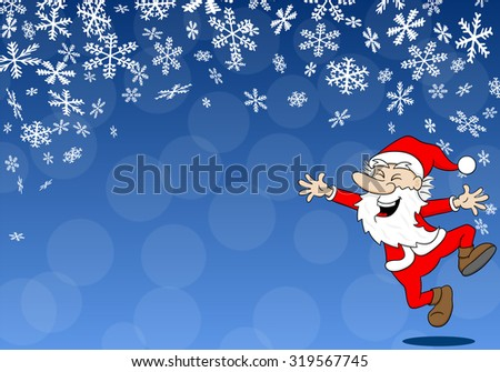 vector illustration of a christmas background with a cartoon santa claus - stock vector