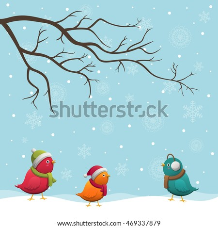 Vector Illustration of a Christmas Background with Cute Little Birds