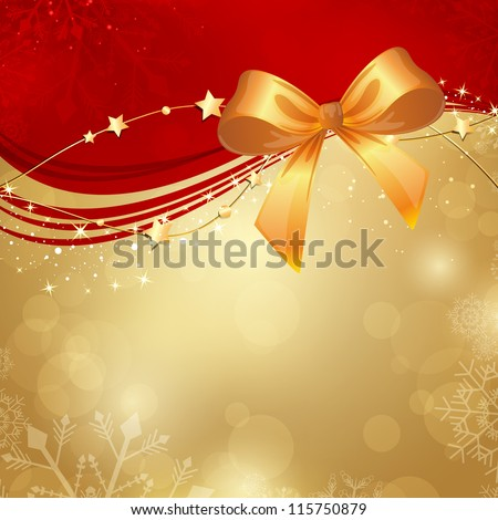 Vector Illustration of a Christmas Background with Ribbon - stock vector