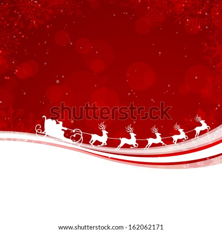 Vector Illustration of a Christmas Background with Santa Claus Driving in a Sledge - stock vector