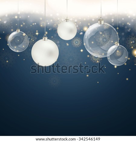Vector Illustration of a Christmas Background with Snowflakes an Christmas Balls  - stock vector