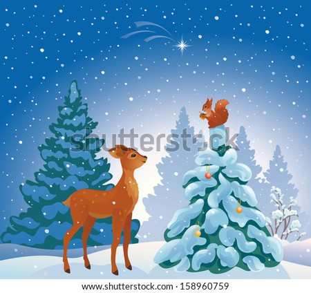Vector illustration of a Christmas forest scene with cute young animals - stock vector