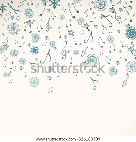 Vector Illustration of a Christmas Music Background wth Music Notes and Snowflakes - stock vector
