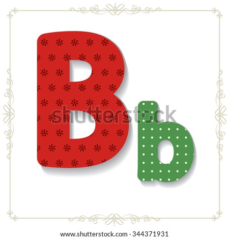 Vector illustration of a  Christmas/New Year related font. for your art and design. Letter B - stock vector