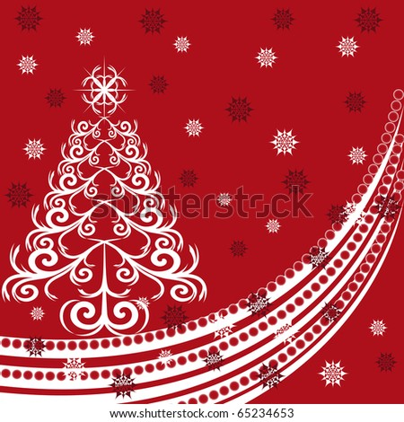 vector illustration of a Christmas tree made using ornament on red background with snowflakes - stock vector