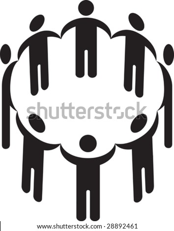 Vector illustration of a circle of people holding hands silhouette - stock vector