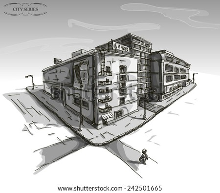 Vector illustration of a city, hand drawn grayscale district, street elements, man on the crossroad, business buildings, street lamps, outdoor banners, black and white card - stock vector