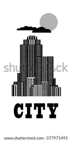 vector illustration of a city high-rise buildings in black and white