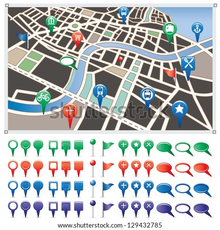 Vector illustration of a city map. - stock vector