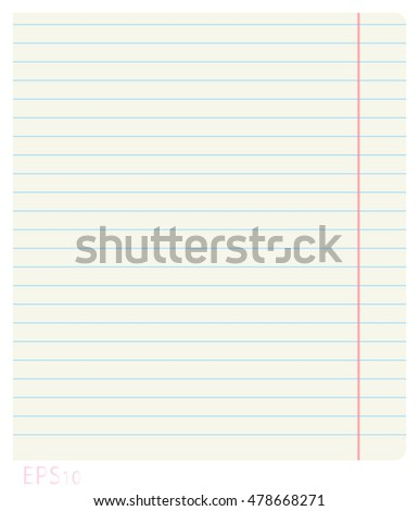 Vector illustration of a clean notebook sheet in line with the fields