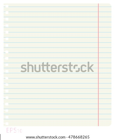 Vector illustration of a clean notebook sheet in line with the fields and holes from the springs