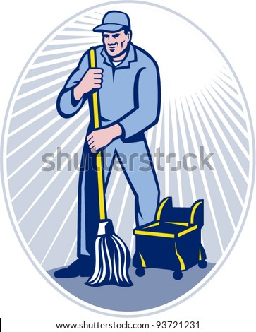 vector illustration of a cleaner janitor cleaning floor with mop viewed from front set inside ellipse done in retro woodcut style. - stock vector