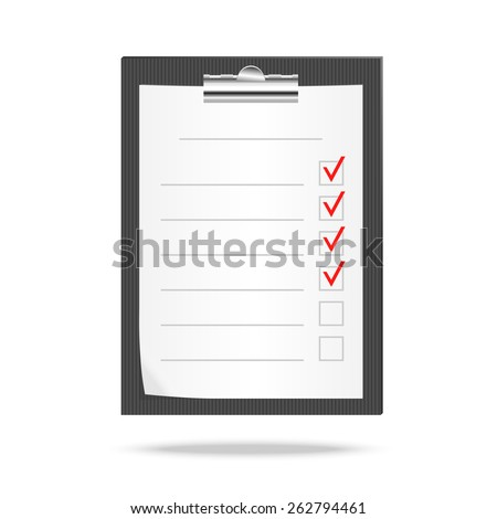 Vector illustration of a clipboard end checklist with  checking off tasks - stock vector