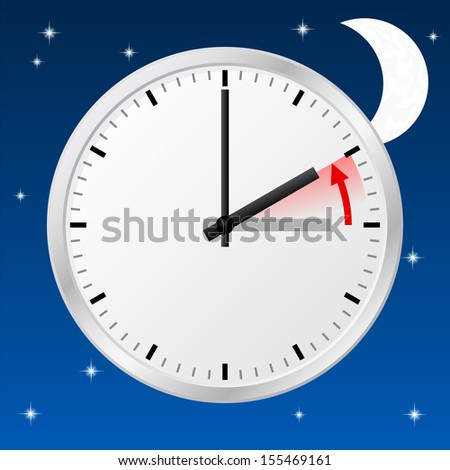 vector illustration of a clock return to standard time - stock vector