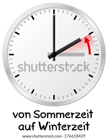 vector illustration of a clock return to standard time german: von Sommerzeit auf Winterzeit = daylight saving time ends - stock vector