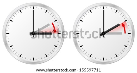 vector illustration of a clock switch to summer time and return to standard time - stock vector