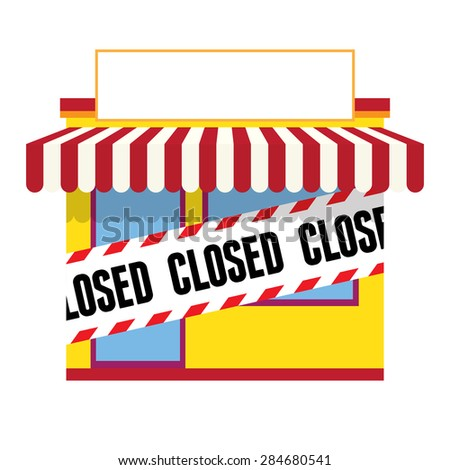 Vector illustration of a closed store with copyspace. - stock vector