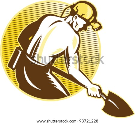 vector illustration of a coal miner working with shovel viewed from the side set inside circle on isolated white background done in retro woodcut style. - stock vector
