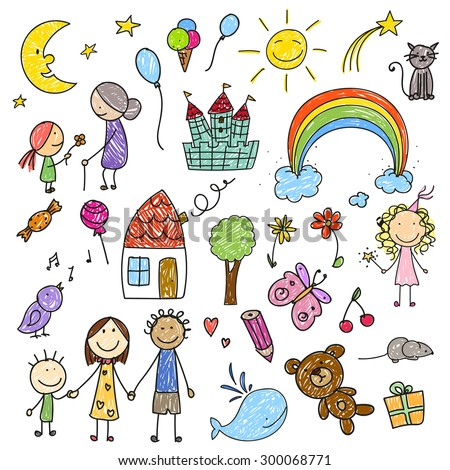vector illustration of a collection of children drawings - Cartoon Drawings Of Children
