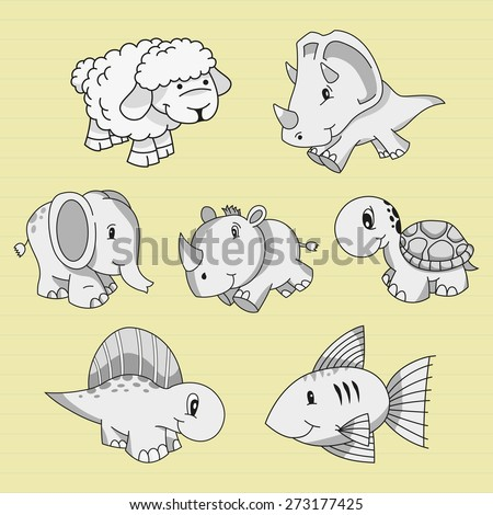 Vector illustration of a collection of doodle animals - stock vector