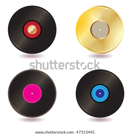 Vector - Illustration of a collection of vinyl lp discs and gold CD - stock vector