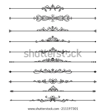 Vector illustration of a collections of calligraphic design elements - dividers, page headlines, isolated on white - stock vector