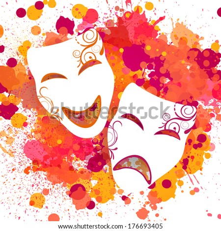 Vector Illustration of a Colorful Background with Carnival Masks