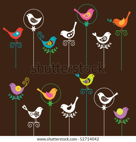Vector illustration of a colorful bird collection. I also have a matching flower set. Please see my portfolio. - stock vector