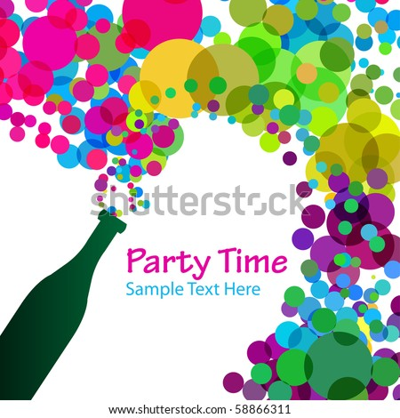 Vector - Illustration of a colorful bubbles escaping bottle of alcohol - stock vector