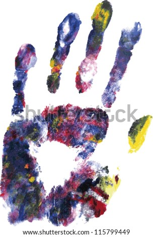 Vector illustration of a colorful graphic hand print.