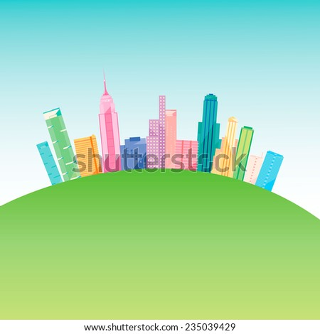Vector illustration of a colorful modern city on a green hill. Skyscrapers and condos over a blue sky. Eps image, easy editing - stock vector