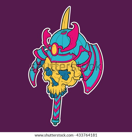 Vector illustration of a colorful samurai skull stabbed with a katana - stock vector