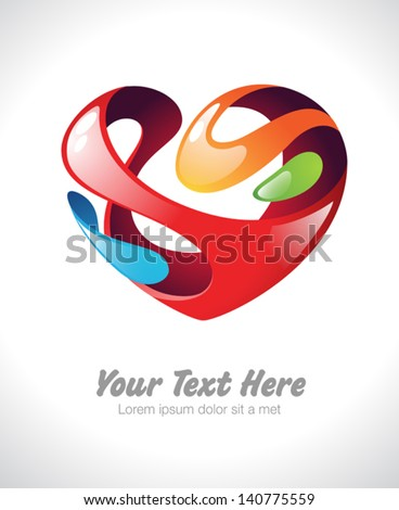 Vector illustration of a colorful stylized heart - stock vector