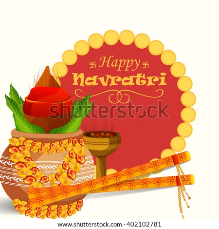Vector illustration of  a colourful background for Happy Navratri with Kalash.