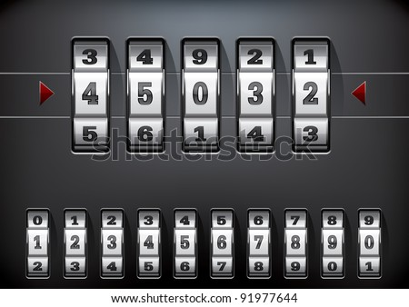 vector illustration of a combination lock set with all ten numbers - stock vector