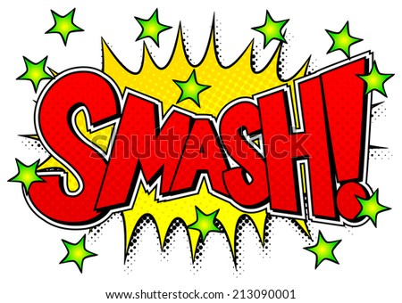vector illustration of a comic sound effect smash - stock vector