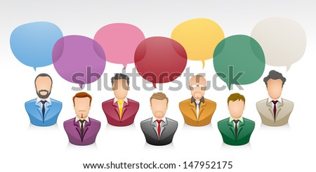 Vector illustration of a communication between businessman with colorfully speech bubble  - stock vector
