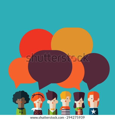 Vector illustration of a communication concept. People icons with colorful dialog speech bubbles. People Chatting - stock vector