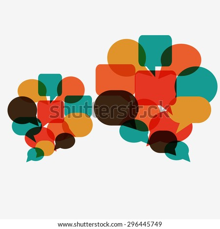 Vector illustration of a communication concept. Two colorful dialog speech bubbles  - stock vector