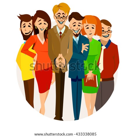 Vector illustration of a company team. Office workers: artist, QA, manager, developer, SEO, web- master, programmer.