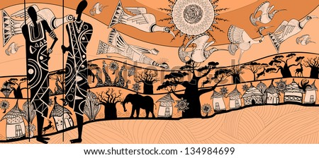 vector illustration of a composition about africa (each element separated) - stock vector