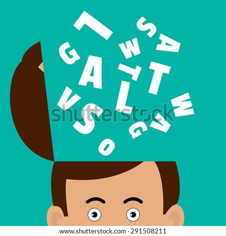 Vector illustration of a concept - a lot of letters flying out of a man's head. Fountain of letters from the head writer or blogger. - stock vector