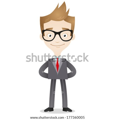 Vector illustration of a confident cartoon businessman smiling friendly with arms behind his back. - stock vector