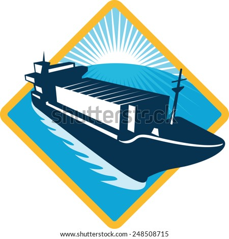 vector illustration of a container ship boat sailing viewed from the high angle set inside diamond done in retro style on isolated white background. - stock vector