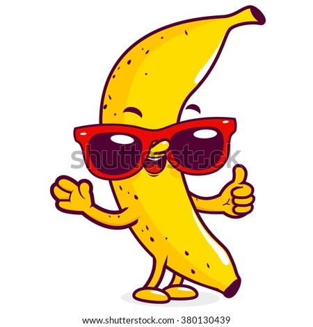 Vector illustration of a cool cartoon yellow banana wearing sunglasses and doing a thumbs up gesture. - stock vector